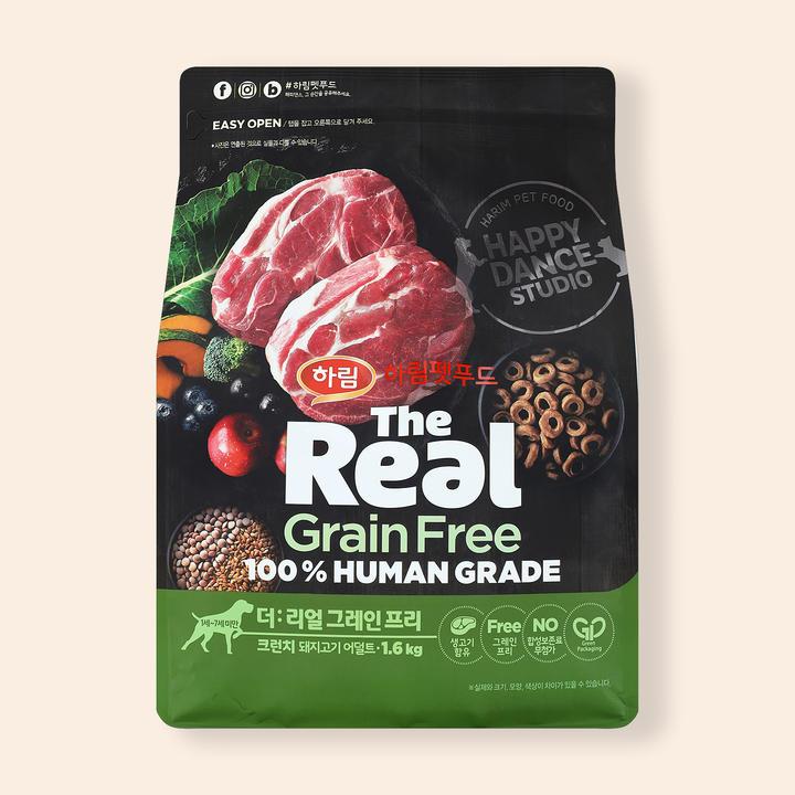 더리얼 그레인프리 크런치 돼지고기 어덜트 1.6kg