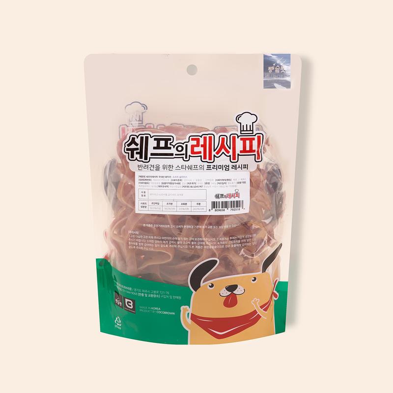 펫슐랭 쉐프의레시피 국내산 돼지귀 소프트 슬라이스 540g