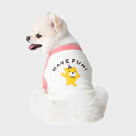 누렁이 파티 래글런 티셔츠 핑크