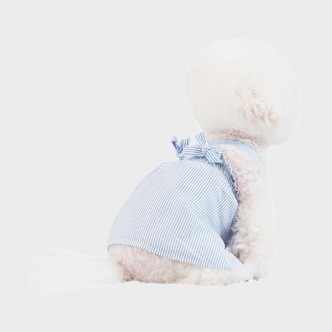 스니프 X 스트랩 스트라이프 드레스 블루