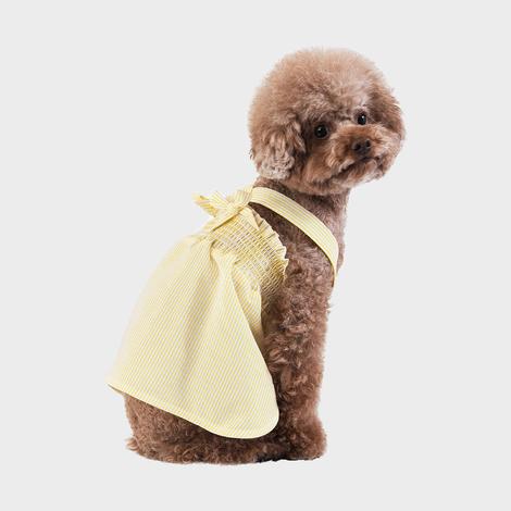 스니프 X 스트랩 스트라이프 드레스 옐로우